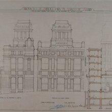 PALACIOS Y RAMILO, Antonio (1874-1945). Proyecto de edificio para el Banco de Madrid. Antonio Palacios y Pedro Muguruza Otaño.1920
