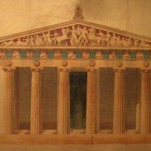 GÁNDARA, Jerónimo de la (1825-). Del Partenon (Atenas). Restauración de la fachada occidental. Jerónimo de la Gándara. 1850