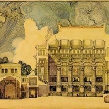 FERNÁNDEZ BALBUENA, Roberto (1890-1966). Proyecto de un palacio para la música. Presentado ante el Tribunal de Oposiciones de Pensiones en Roma. Roberto Fernández Balbuena. 1914