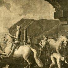ANÓNIMO (S. XVIII). [La salida a caballo]. [17--]