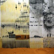 Svetlana Jakimovska Rodič, History Curtains, linocut,  2013, installation view (foto Urška Boljkovac)