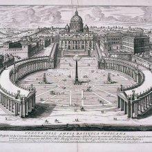 FALDA, Giovanni Battista. Veduta dell'Ampia Basilica Vaticana : Con il Prospetto del Suo Colonnato d' Architettura del Cavaliero Gio. Lorenzo Bernini. 1729